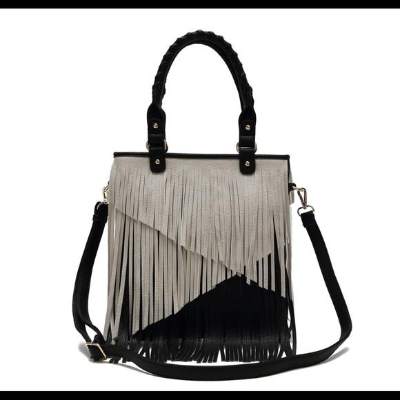 Black off white fringe bag purse shoulder